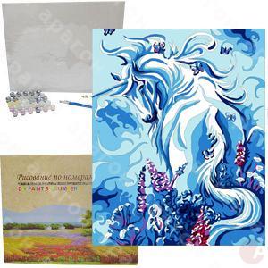 Холст раскраска по номерам GX6104 Белая лошадь 40х50 см с ...