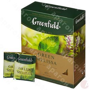 Чай  Гринфилд 100пак зеленый с мелиссой Грин Мелиса
