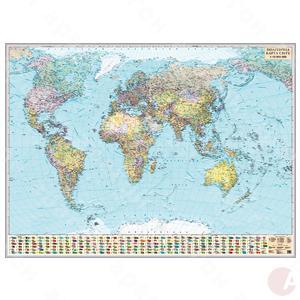 Карта Мира политич. 1:15 000 000 картон/планки 216х158см